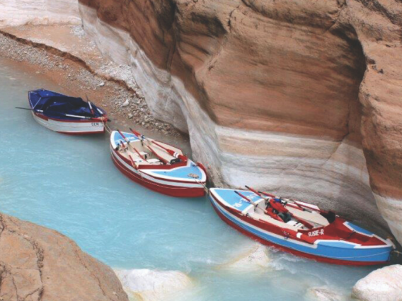 Colorado river and kayaks